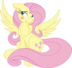 Size: 7556x7168   Tagged: safe, artist:joey darkmeat, artist:portalart, fluttershy, pegasus, pony, absurd resolution, blushing, cute, female, mare, raised hoof, shyabetes, simple background, sitting, smiling, solo, spread wings, transparent background, vector
