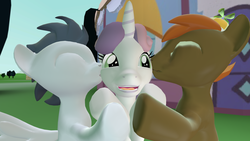 Size: 1920x1080 | Tagged: 3d, artist:viranimation, button mash, female, gmod, kissing, male, rumbelle, rumble, safe, shipping, straight, sweetie belle, sweetie belle gets all the colts, sweetiemash