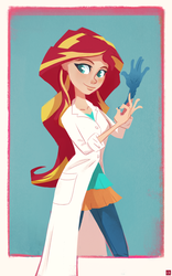 Size: 1000x1599 | Tagged: safe, artist:ajvl, sunset shimmer, equestria girls, friendship games, the science of magic, clothes, human coloration, lab coat, rubber gloves, solo, sunset the science gal