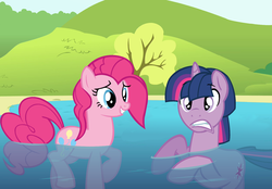 Size: 1524x1062 | Tagged: safe, artist:dilemmas4u, pinkie pie, twilight sparkle, dusk shine, duskpie, female, half r63 shipping, male, rule 63, shipping, straight, swimming, wet mane