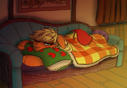 Size: 1234x854 | Tagged: safe, artist:prismspark, applejack, blanket, couch, floppy ears, pillow, prone, resting, solo