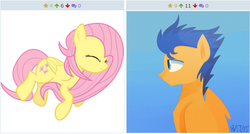 Size: 636x340 | Tagged: safe, screencap, flash sentry, fluttershy, female, flutterflash, male, meta, shipping, straight