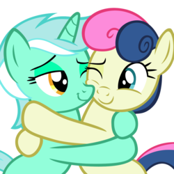 Size: 1024x1024 | Tagged: source needed, safe, artist:dtkraus, bon bon, lyra heartstrings, sweetie drops, earth pony, pony, unicorn, adorabon, bedroom eyes, couple, cuddling, cute, daaaaaaaaaaaw, female, hug, lesbian, looking at each other, love, lyrabetes, lyrabon, mare, nuzzling, one eye closed, shipping, simple background, smiling, snuggling, squishy cheeks, transparent background, wink