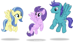Size: 1024x589   Tagged: safe, artist:vector-brony, clear skies, open skies, sunshower, pegasus, pony, tanks for the memories, mane, show accurate, signature, tail, trio, vector, wings