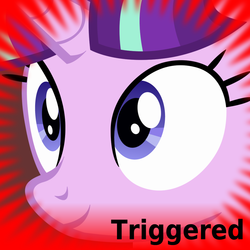 Size: 1024x1024 | Tagged: safe, artist:dtkraus, starlight glimmer, derpibooru, meta, official spoiler image, smiling, solo, spoilered image joke, starlight justice warrior, triggered, wide eyes