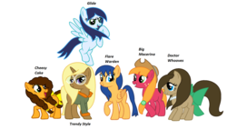 Size: 2036x1166 | Tagged: safe, artist:t-mack56, big macintosh, cheese sandwich, doctor whooves, flash sentry, soarin', time turner, trenderhoof, pony, base used, flare warden, glide, grilled cheese (r63), group shot, macareina, missing cutie mark, names, rule 63, simple background, the doctoress, trend setter, white background