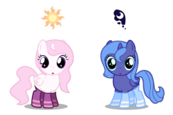 Size: 6000x4000   Tagged: safe, artist:cencerberon, princess celestia, princess luna, .svg available, :o, absurd resolution, cewestia, clothes, filly, looking at you, pink-mane celestia, show accurate, simple background, socks, striped socks, transparent background, vector, woona
