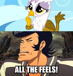 Size: 494x516 | Tagged: cute, feels, gilda, gildadorable, griffon, meme, right in the feels, safe, space dandy, the feels