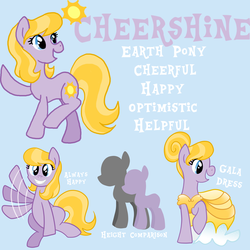 Size: 5000x5000 | Tagged: safe, artist:princess-madeleine, oc, oc only, oc:cheershine, earth pony, pony, absurd resolution, reference sheet, solo