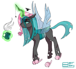 Size: 3012x2739 | Tagged: artist:8bitamy, clothes, coffee, hat, levitation, magic, morning ponies, mug, nightcap, queen chrysalis, safe, slippers, solo, spider, spider web, spread wings, tired