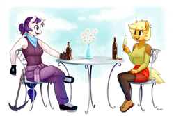 Size: 1300x866 | Tagged: safe, artist:siden, applejack, rarity, oc, oc:ivory, oc:sparkling cider, anthro, plantigrade anthro, alcohol, alternate universe, armpits, chair, cider, clothes, female, gloves, lesbian, pickaxe, rarijack, sandals, shipping, table, ultimare universe, vase