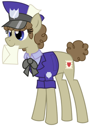 Size: 1600x2208 | Tagged: safe, artist:evilfrenzy, post haste, clothes, envelope, hat, letter, mail, mailmare, mailpony, mouth hold, rule 63, shirt, simple background, solo, uniform, vector, white background, working