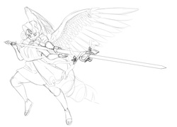 Size: 3500x2500 | Tagged: safe, artist:amaraburrger, rarity, twilight sparkle, human, anthro, female, fusion, gem fusion, humanized, lance, monochrome, multiple arms, multiple eyes, solo, winged humanization, wings
