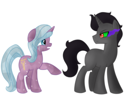 Size: 1024x842 | Tagged: safe, artist:emera33, idw, king sombra, radiant hope, crystal pony, pony, fiendship is magic, crying, dark magic, female, hopebra, horn, magic, male, mane, open mouth, shipping, sombra eyes, straight, tail, young