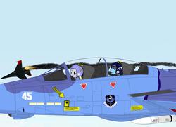 Size: 2000x1450 | Tagged: safe, artist:lonewolf3878, derpy hooves, rainbow dash, pegasus, pony, aircraft, combat, f-14 tomcat, female, legion of discord, mare, new lunar republic, pilot, su-27, warplane