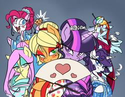 Size: 746x578 | Tagged: safe, artist:mingraine, applejack, fluttershy, pinkie pie, rainbow dash, rarity, twilight sparkle, earth pony, pegasus, pony, unicorn, alternate hairstyle, bedroom eyes, blushing, clothes, cupcake, eyeshadow, fan, female, folding fan, freckles, kanzashi, kimono (clothing), kiseru, kushi kanzashi, lipstick, magic, makeup, mane six, mare, neighponese, open mouth, pipe, sake, smiling, smoking