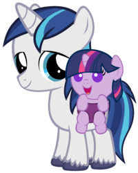 Size: 2400x3000 | Tagged: safe, artist:beavernator, shining armor, twilight sparkle, pony, baby, baby carrier, baby pony, babylight sparkle, bbbff, beavernator is trying to murder us, brother and sister, colt, colt shining armor, cute, female, filly, filly twilight sparkle, foal, looking at you, male, open mouth, shining adorable, siblings, smiling, smiling at you, standing, twiabetes, younger