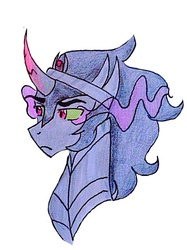 Size: 640x854   Tagged: safe, artist:scarletskitty12, king sombra, pony, unicorn, bust, frown, male, portrait, simple background, solo, stallion, traditional art, white background