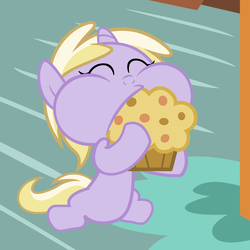 Size: 3600x3600 | Tagged: artist:beavernator, baby, baby pony, beavernator is trying to murder us, cute, dinkabetes, dinky hooves, foal, food, muffin, pony, safe, solo, that pony sure does love muffins