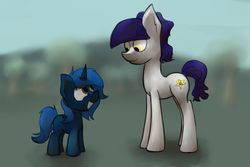 Size: 1280x853 | Tagged: safe, artist:marsminer, oc, oc only, oc:fruity blossom, oc:starlight blossom, female, filly, mom, mother and daughter, park