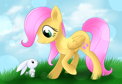 Size: 4554x3141 | Tagged: safe, artist:scarlet-spectrum, angel bunny, fluttershy, pegasus, pony, cute, female, filly, filly fluttershy, grass, high res, shyabetes, younger