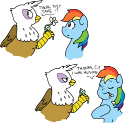 Size: 500x494 | Tagged: safe, artist:stockingstreams, gilda, rainbow dash, griffon, blushing, eating, eyes closed, female, flower, frown, gilda is not amused, gildash, gildere, glare, horses doing horse things, interspecies, lesbian, shipping, smiling, tsundere, unamused