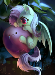 Size: 594x809 | Tagged: dead source, safe, artist:reddwin, fluttershy, bat pony, :c, apple, biting, crying, cute, fangs, female, flutterbat, micro, nom, open mouth, sad, shyabates, shyabetes, smiling, solo, spread wings, tiny ponies, watermark