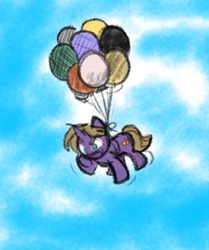 Size: 873x1046 | Tagged: safe, artist:zutcha, oc, oc only, oc:night speaker, pony, unicorn, fanfic:founders of alexandria, ponies after people, balloon, fanfic, fanfic art, hooves, horn, illustration, male, solo, stallion