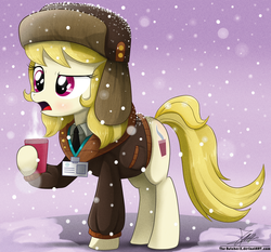 Size: 1871x1742 | Tagged: artist:the-butch-x, blushing, clothes, coat, coffee, female, hat, march gustysnows, mare, open mouth, pony, safe, snow, snowfall, solo, ushanka