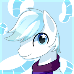 Size: 1000x1000 | Tagged: safe, artist:puetsua, double diamond, earth pony, pony, avatar, bust, clothes, cute, double dawwmond, happy, looking at you, male, portrait, scarf, smiling, solo, stallion, starry eyes, wingding eyes