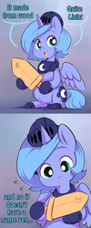Size: 540x1348 | Tagged: safe, artist:ende26, princess luna, cute, filly, looking at you, lunabetes, open mouth, smiling, solo, tumblr, wooden sword, woona, woona knight