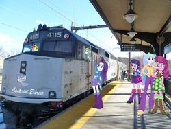 Size: 640x480 | Tagged: safe, cheerilee, princess celestia, rainbow dash, rarity, sunset shimmer, twilight sparkle, equestria girls, emd, f40ph, fanfic art, locomotive, photoshop, principal celestia, train