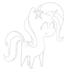 Size: 1280x1280 | Tagged: safe, artist:thunderose-artsnstuff, trixie, pony, unicorn, female, mare, monochrome, pointy ponies, solo