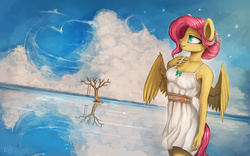 Size: 2000x1250   Tagged: safe, artist:rain-gear, fluttershy, anthro, alternate hairstyle, blushing, clothes, cloud, cloudy, dress, heart, reflection, sky, smiling, solo, swing, tree, water
