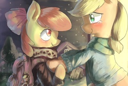 Size: 1748x1181 | Tagged: safe, artist:magiace, apple bloom, applejack, pegasus, pony, adorabloom, applejack's hat, backpack, bipedal, blushing, bow, clothes, cowboy hat, crying, cute, duo, eye contact, female, hair bow, hat, jackabetes, lidded eyes, looking at each other, mare, older, plushie, scarf, smiling, snow, snowfall, sweater, tears of joy, teary eyes, turtleneck, winter outfit