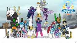 Size: 1920x1080 | Tagged: safe, artist:brisineo, derpy hooves, gummy, lyra heartstrings, mare do well, party favor, princess cadance, rainbow dash, shining armor, starlight glimmer, twilight sparkle, oc, oc:>rape, oc:anon, oc:fausticorn, oc:femanon, oc:fluffle puff, oc:milky way, oc:sharpie fume, oc:tracy cage, alicorn, alligator, bat pony, bugbear, earth pony, human, pegasus, pony, reptile, unicorn, /mlp/, 1st place, 2015, 3rd place, 3rd place trophy, 4chan, 4chan cup, 4chan cup scarf, >rape, bandana, bedroom eyes, champions, clothes, costume, dan, dan vs, dead space, female, flying, frown, glare, grin, gritted teeth, group picture, gummy the deep thinker, halo, hoers mask, horse head, horsefucker, invisible, irrational exuberance, isaac clarke, issac clarke, jackie chan tulpa, lauren faust, logo, lyra plushie, m.a. larson, male, mare, medal, meghan mccarthy, missing accessory, missing body part, open mouth, plothole plush lyra, raised hoof, safest hooves, salt, salt flats, salty, scarf, smiling, smirk, smug, spread wings, stallion, storm, stormy, summer, summer cup, team, team photo, the burdened, trophy, tulpa, twilight sparkle (alicorn), victory, wall of tags, wide eyes