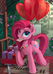 Size: 1800x2517 | Tagged: safe, artist:yakovlev-vad, pinkie pie, earth pony, pony, badge, balloon, cute, cuteamena, female, fluffy, grin, heart balloon, invitation, looking at you, mare, mouth hold, pinkamena diane pie, present, raised hoof, raised leg, scenery, smiling, solo, wagon, weapons-grade cute