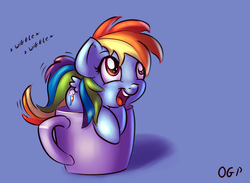 Size: 700x511 | Tagged: safe, artist:tadashi--kun, rainbow dash, pegasus, pony, cup, cup of pony, cute, dashabetes, female, happy, mare, micro, open mouth, signature, simple background, solo, weapons-grade cute, wiggle