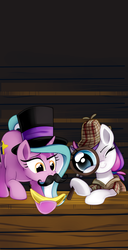 Size: 1024x1994 | Tagged: safe, artist:pepooni, oc, oc only, oc:blank canvas, oc:mane event, bronycon, bronycon 2015, banana, bronycon mascots, clothes, cute, deerstalker, detective, fake moustache, hat, hoof hold, magnifying glass, moustache, raised eyebrow, sherlock holmes, silly, smiling, smirk, top hat, wink