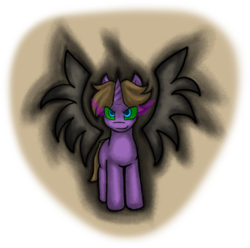 Size: 1280x1268 | Tagged: safe, artist:zutcha, oc, oc only, oc:night speaker, oc:odium, pony, umbrum, unicorn, fanfic:founders of alexandria, ponies after people, artificial wings, augmented, dark magic, fanfic, fanfic art, hooves, horn, illustration, magic, magic wings, male, solo, sombra eyes, stallion, wings