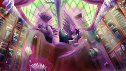 Size: 1920x1080 | Tagged: safe, artist:dream--chan, twilight sparkle, alicorn, pony, blushing, book, bookshelf, crepuscular rays, cute, female, flying, happy, levitation, library, magic, mare, open mouth, reading, smiling, solo, spread wings, telekinesis, that pony sure does love books, twilight sparkle (alicorn), upside down, wings
