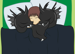 Size: 2604x1862   Tagged: safe, artist:badumsquish, derpibooru exclusive, oc, oc only, oc:generic messy hair anime anon, changeling, human, ambiguous gender, bed, cuddle puddle, cuddlebug, cuddling, cute, cuteling, group, harem, human on changeling snuggling, male, pillow, sleeping, smiling, snuggling