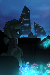Size: 1300x1950 | Tagged: safe, artist:whydomenhavenipples, oc, oc only, oc:lithium flower, earth pony, pony, city, cityscape, cyberpunk, female, freckles, mare, neon, neon sign, ponytail, prosthetic limb, scenery, sitting on roof, solo