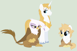 Size: 900x597   Tagged: safe, artist:simplybritish, gilda, prince blueblood, classical hippogriff, griffon, hippogriff, hybrid, alternate hairstyle, female, frown, gildablood, glare, interspecies offspring, male, offspring, parent:gilda, parent:prince blueblood, parents:gildablood, shipping, sitting, smiling, straight