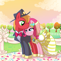 Size: 1000x1000 | Tagged: safe, artist:madmax, big macintosh, pinkie pie, earth pony, pony, clothes, dress, element of laughter, male, marriage, pinkiemac, shipping, stallion, straight, wedding, wedding dress, wedding veil