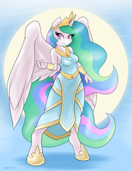 Size: 1275x1650 | Tagged: safe, artist:ambris, princess celestia, alicorn, anthro, unguligrade anthro, beckoning, breasts, clothes, colored pupils, cute, cutelestia, dress, ethereal hair, ethereal mane, ethereal tail, featured image, female, full body, jewelry, looking at you, mare, praise the sun, regalia, sexy, smiling, solo, sun