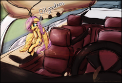 Size: 3000x2037 | Tagged: safe, artist:amura-of-jupiter, fluttershy, keychain pony, blind bag, car, chains, driving, keychain, mercedes-benz, rear view mirror, scared, solo, toy