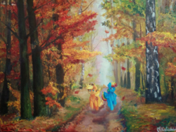 Size: 1600x1200 | Tagged: safe, artist:fermenegilda, applejack, rainbow dash, fall weather friends, autumn, canvas, forest, leaves, running of the leaves, scene interpretation, scenery, scenery porn, traditional art, watermark
