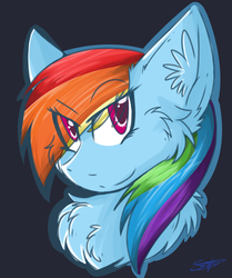 Size: 1024x1225 | Tagged: safe, artist:umiko-tan, rainbow dash, black background, bust, chest fluff, ear fluff, signature, simple background, solo