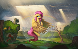 Size: 1920x1200   Tagged: safe, artist:rain-gear, fluttershy, pegasus, pony, crepuscular rays, crying, female, fluttershy's cottage, flying, mare, rain, rainbow, sad, scenery, solo, wet